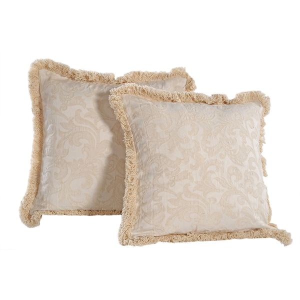 Washed Damask Pattern Fringed Square Soft Removable Cover