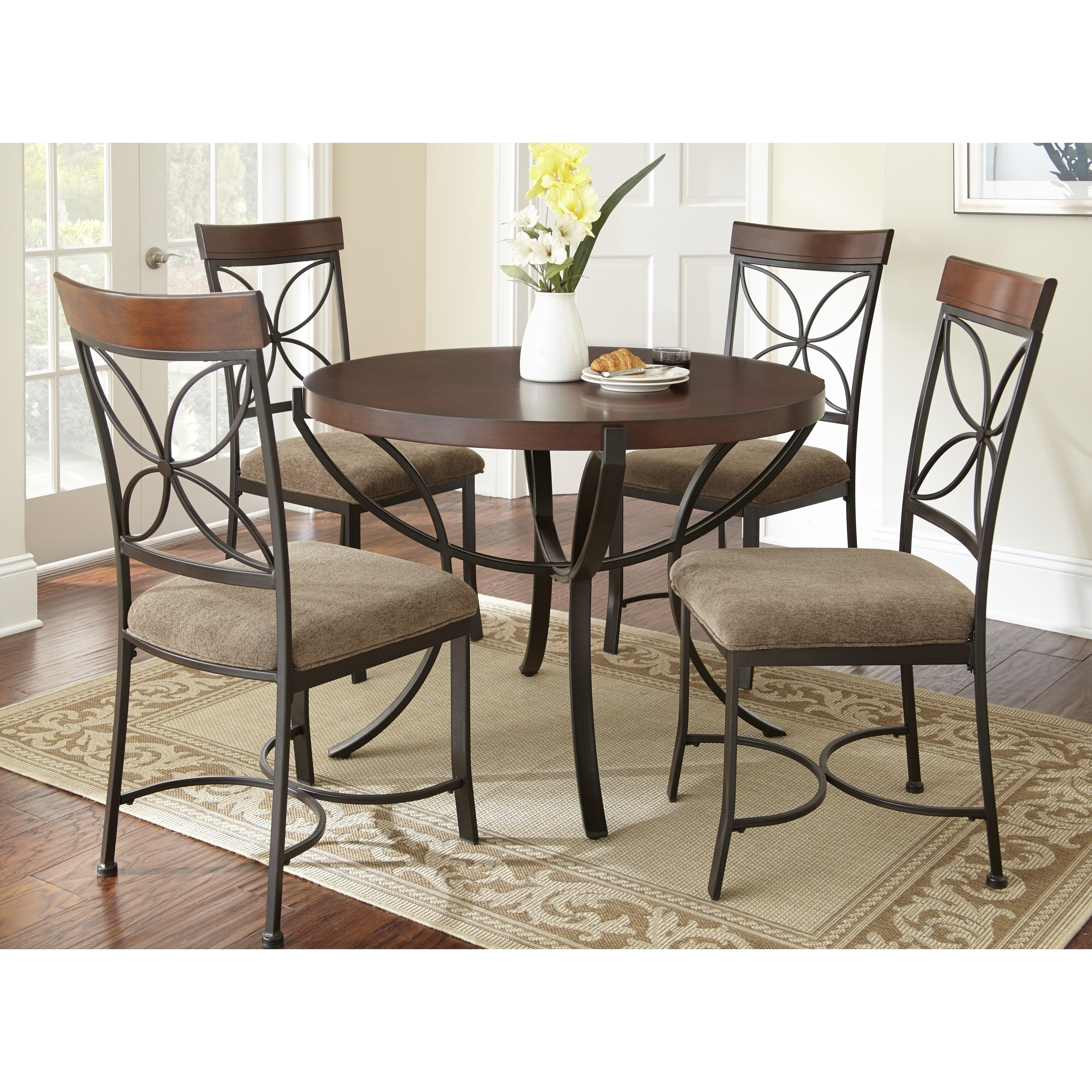Overstock Dining Set: Santiago Round 5-piece Dining Set