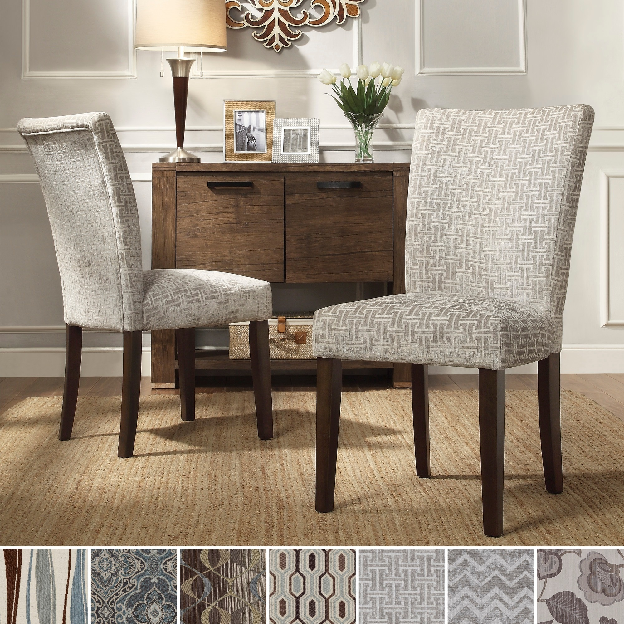 Overstock Dining Chairs: INSPIRE Q Catherine Print Parsons Dining Side Chair (Set