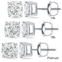 Auriya 14k/18k Gold or Platinum 2ct TDW Certified Cushion-Cut Diamond Stud Earrings