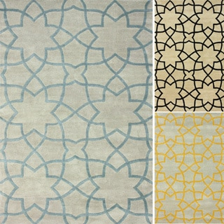 Nuloom Handmade Wool Moroccan Trellis Yellow Rug 7 6 X 9