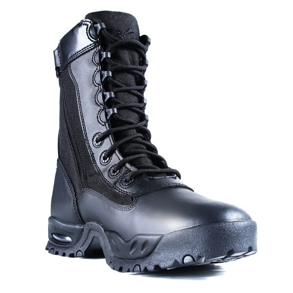 Men S Black Leather Zipper Steel Toe Work Boots