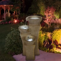 Cascade Bowls Off-white Polyresin LED Lights Fountain