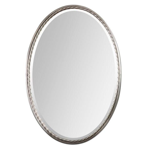 Overstock Mirrors: Casalina Brushed Nickel Mirror