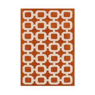 Nuloom Handmade Modern Trellis Orange Wool Rug 7 6 X 9 6