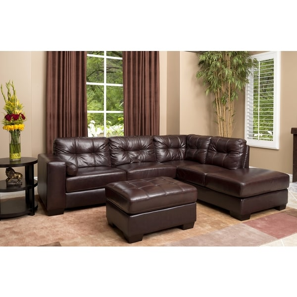 Burgundy Palermo Italian Leather Sectional Sofa And