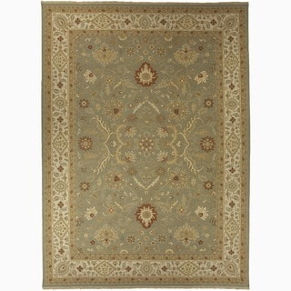 Hand Made Oriental Pattern Green Red Wool Rug 8x10
