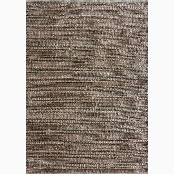 Handmade Solid Pattern Taupe Gray Cotton Jute Rug 8 X