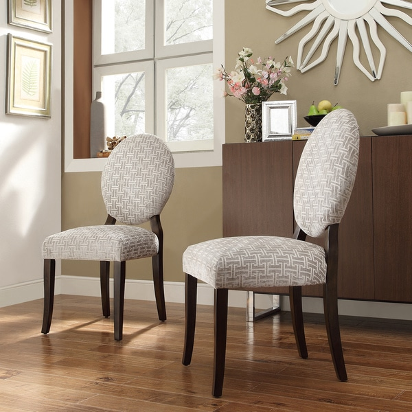 Inspire Q Andorra Velvet And Faux Alligator Leather Dining: INSPIRE Q Paulina Grey Link Round Back Dining Chair (Set