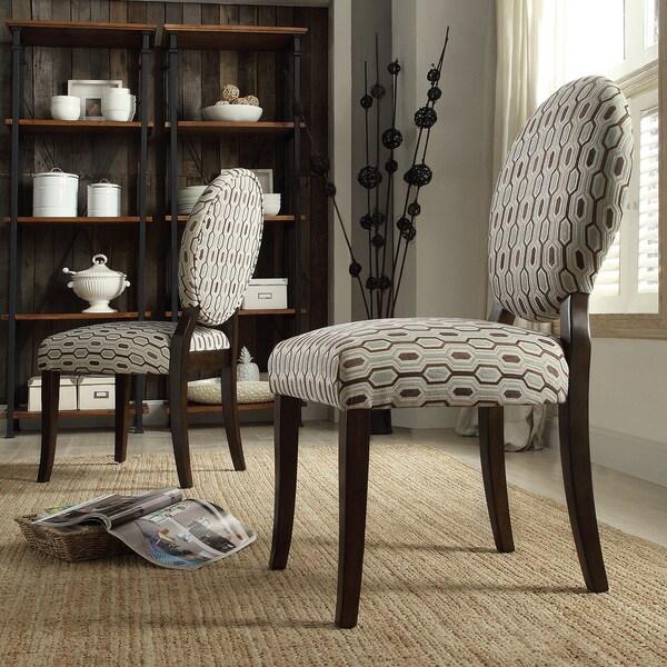 Inspire Q Paulina Mocha Honeycomb Round Back Dining Chair