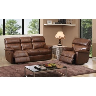 Coney Coffee Italian Leather Reclining Sofa And Two