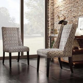 Inspire Q Geneva Mocha Honeycomb Wingback Hostess Chairs