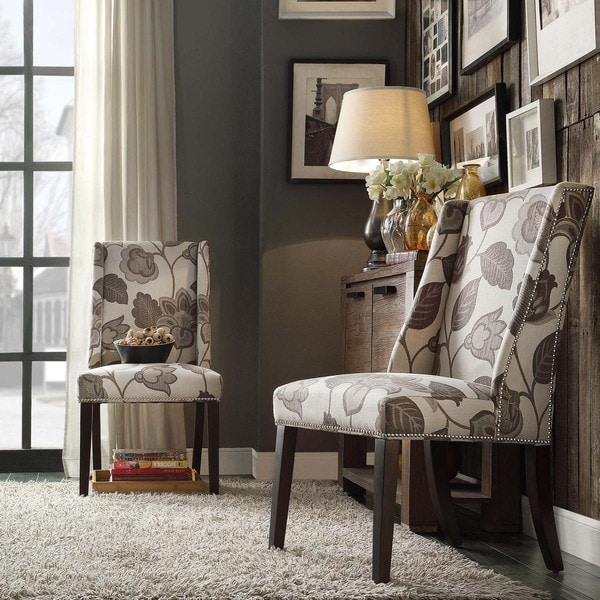Inspire Q Geneva Grey Floral Wingback Hostess Chairs Set