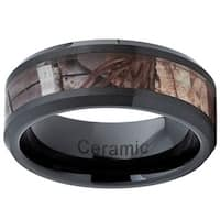 Black Ceramic Hunting Camo Ring (8mm)