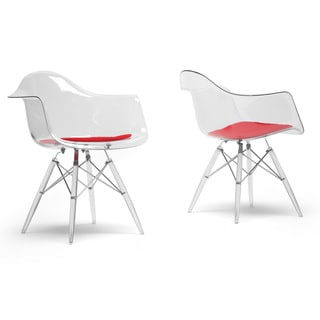 Maisie Clear Plastic Mid Century Modern Shell Chairs Arm Chair Set Of 2