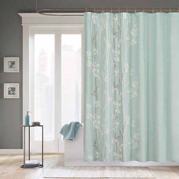 Madison park athena microfiber floral shower curtain - Madison park bathroom accessories ...