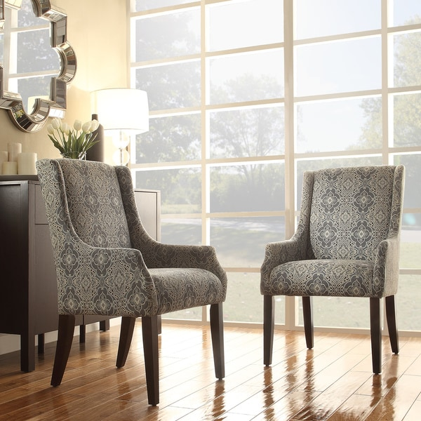 Inspire Q Jourdan Blue Damask Sloped Arm Hostess Chair