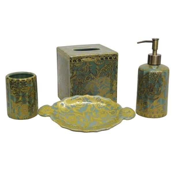 Aqua And Gold Scrolls Bath Accessory 4 Piece Set For Bathroom Accessories Sets