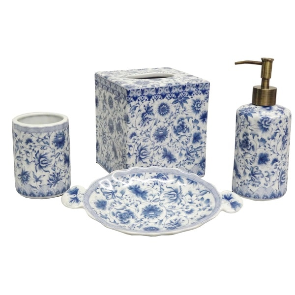 Blue And White Florettes Porcelain Bath Accessory 4 Piece