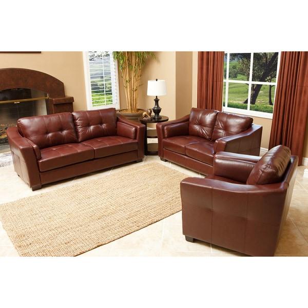 Abbyson Living Torrance Premium Top-grain Leather 3-piece