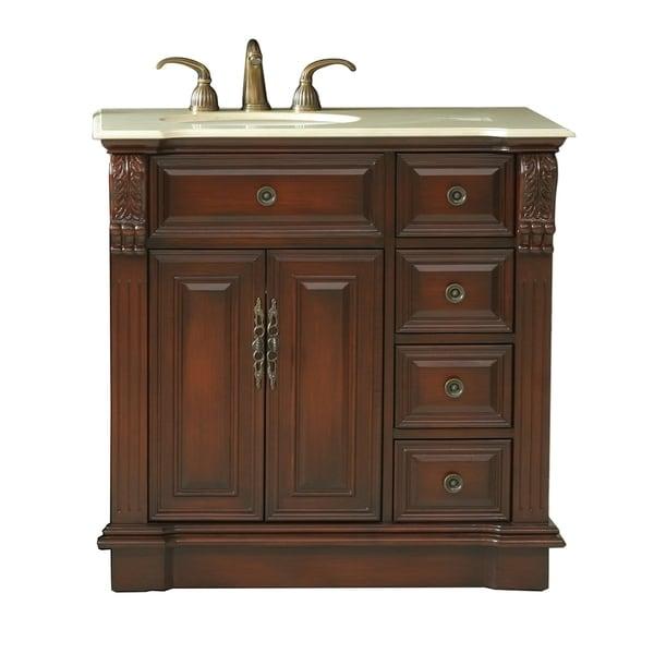 virtu usa benson 36 inch single sink bathroom right side vanity 15865066. Black Bedroom Furniture Sets. Home Design Ideas