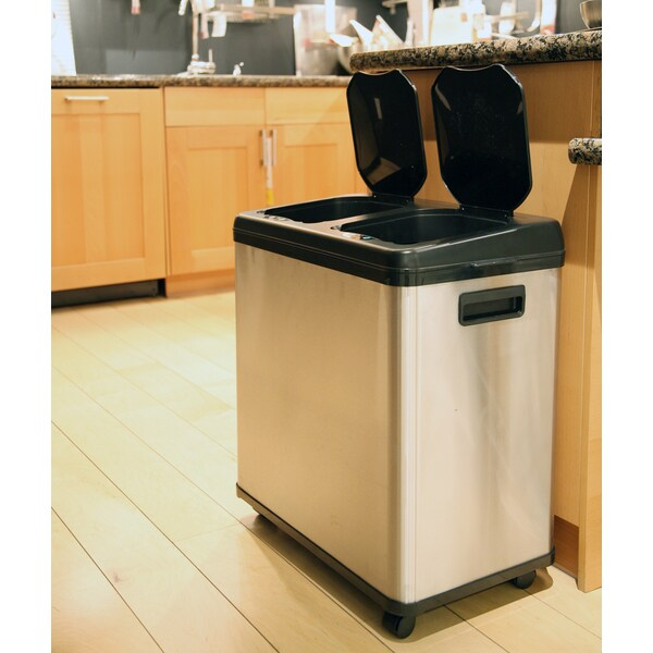 30 Gallon Kitchen Trash Can: ITouchless Stainless Steel Dual-compartment Touchless