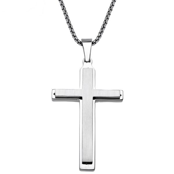 Stainless Steel Mens Layered Cross Pendant 15866000