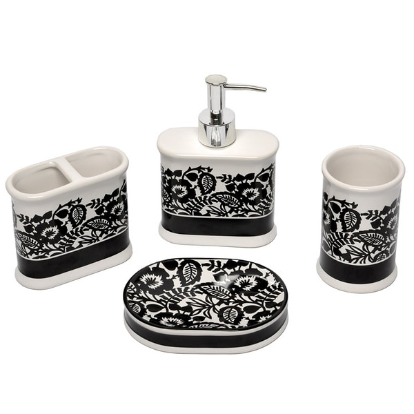 Bath Towel Sets Black And White: Esmee Black And White Bath Accessory 4-piece Set