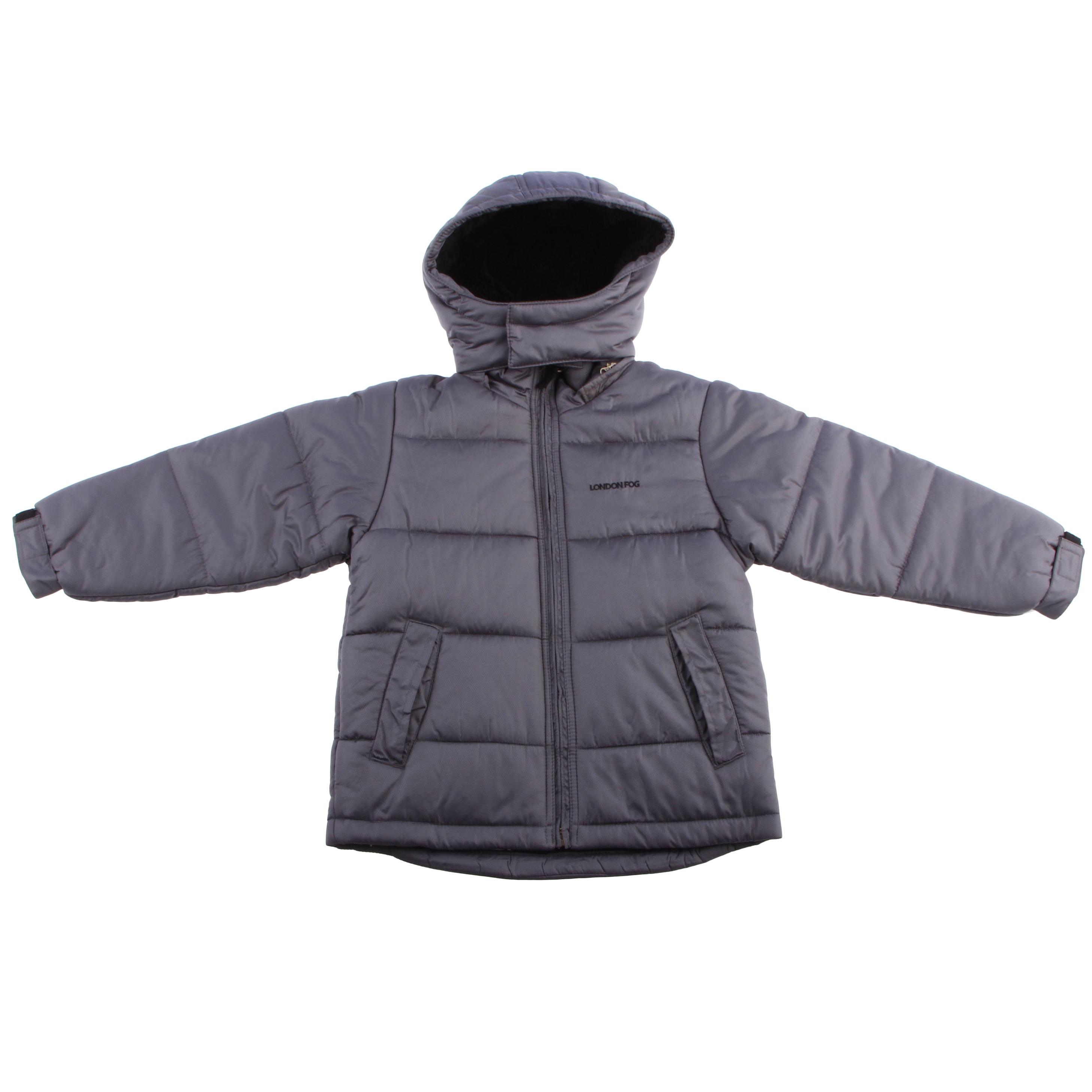 736c7874748e London Fog London Fog Boys 4 7 Faux Fur Lining Grey Jacket Grey Size ...