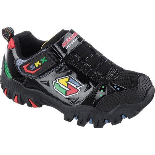 Boys Skechers S Lights Galvanized Bosky BlackGreen Casual Shoes