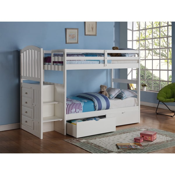 Donco Kids Arch Mission Stairway White Twin Bunk Bed With