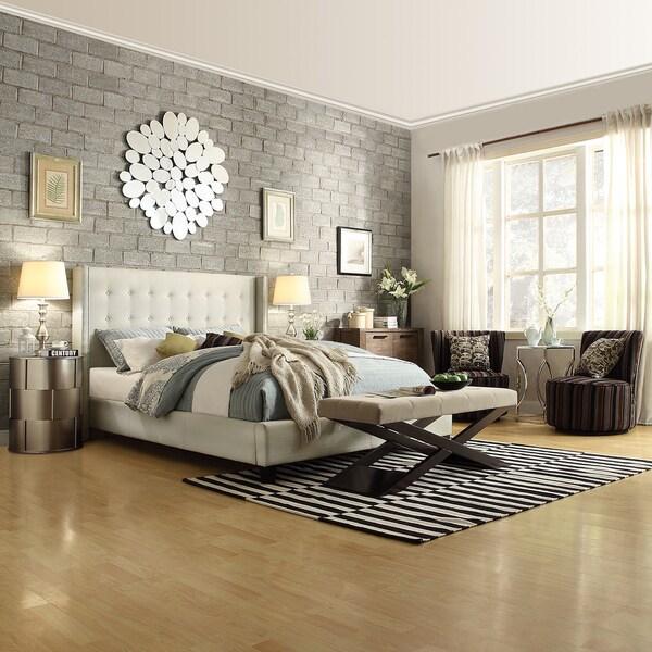 INSPIRE Q Marion Cream Linen Nailhead Wingback Upholstered
