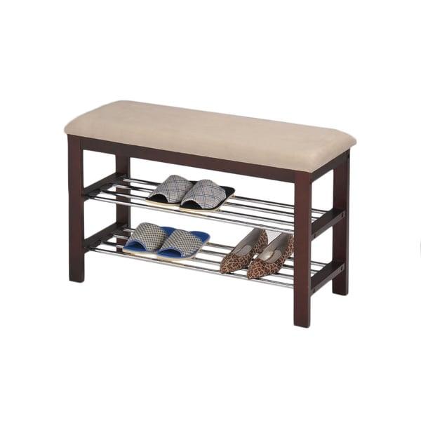 Beige Walnut Shoe Rack Bench 15881125 Overstock Com