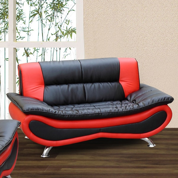 Christina Red Black Two Tone Bonded Leather Loveseat