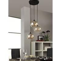 Uptown Metal/Glass Amber Globe 3-light Cluster Pendant