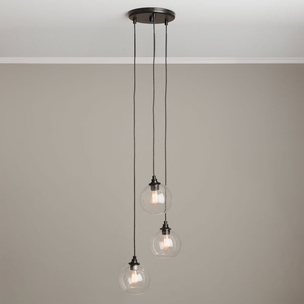 Uptown 3 Light Clear Globe Cluster Pendant 15884182