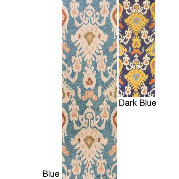 Nuloom Handmade Ikat Blue Wool Runner Rug 2 6 X 8