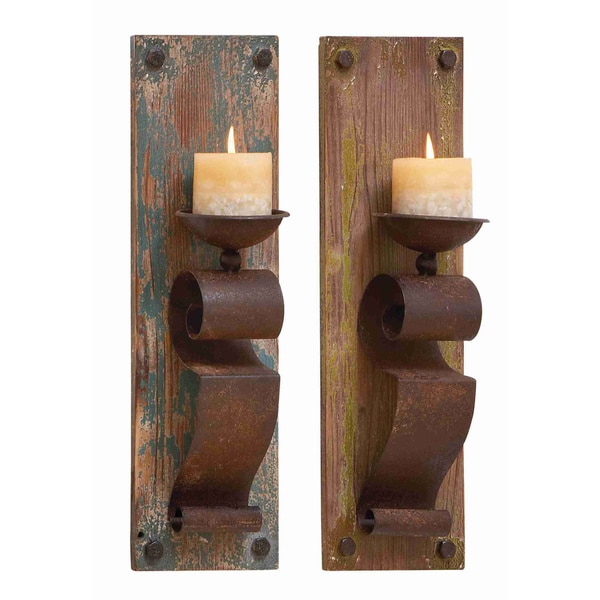 Wall Sconces Rustic: Wood And Metal Rustic Candle Sconces (Set Of 2)