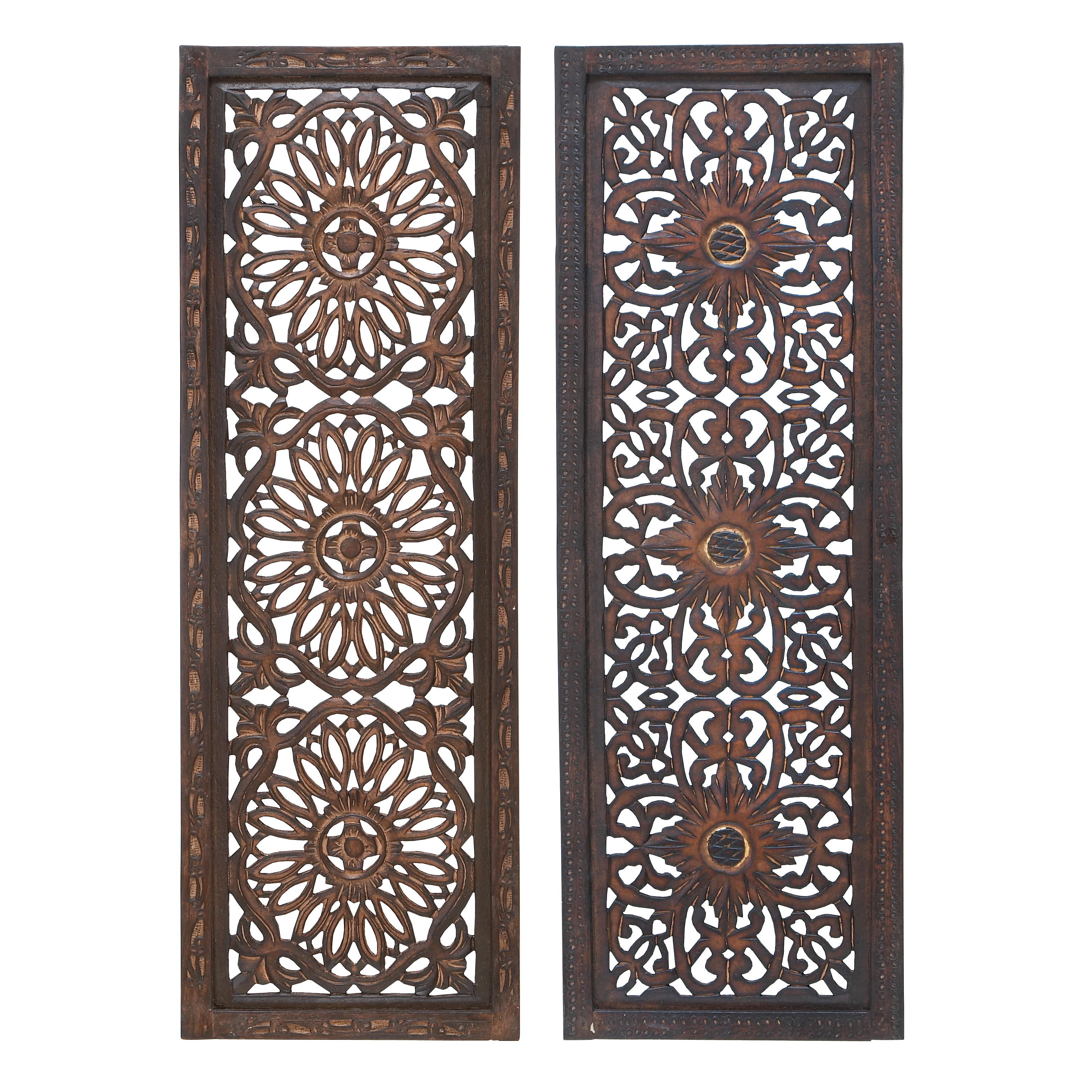 Accent Pieces For Home: 2-piece Elegant Wall Sculpture Wood Wall Panel