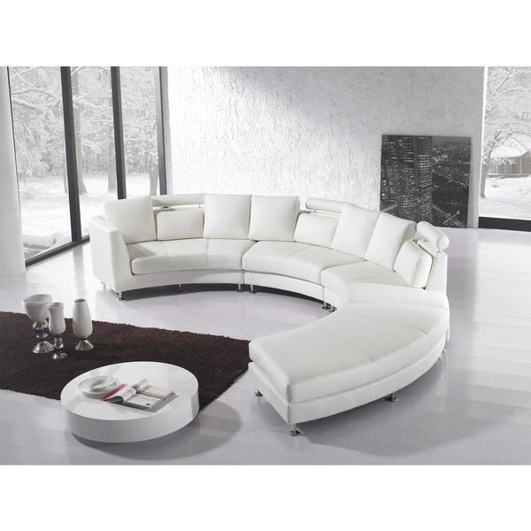 Beliani Rotunde White Modern Design Round Leather
