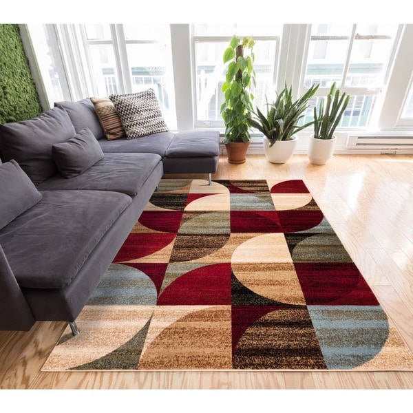 geometric abstract patchwork modern shapes ivory beige red blue and brown area rug 7apos10 x 9apos10. Black Bedroom Furniture Sets. Home Design Ideas