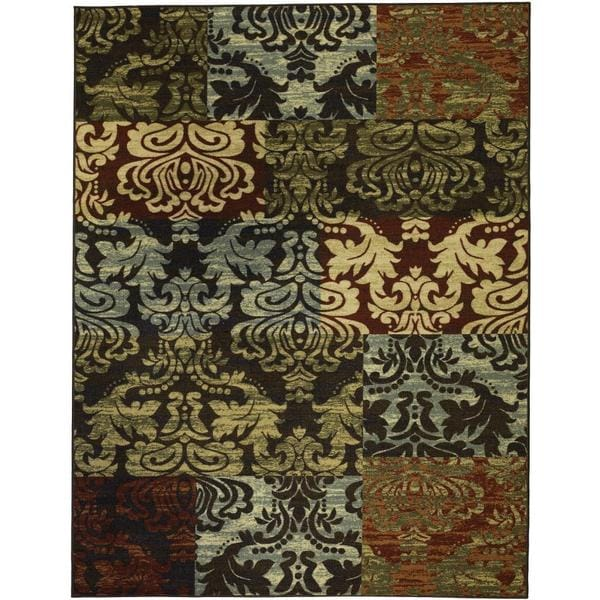 Patty Patchwork Non Skid Rubber Backing Brown Rug 2 X 3