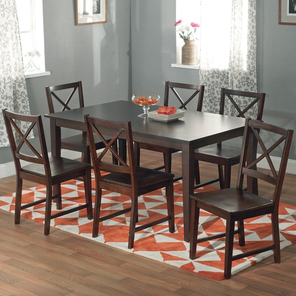 Tribecca Home Acton Warm Merlot X Back Casual Dining Side: Simple Living Cross-back Espresso 7-piece Dining Set