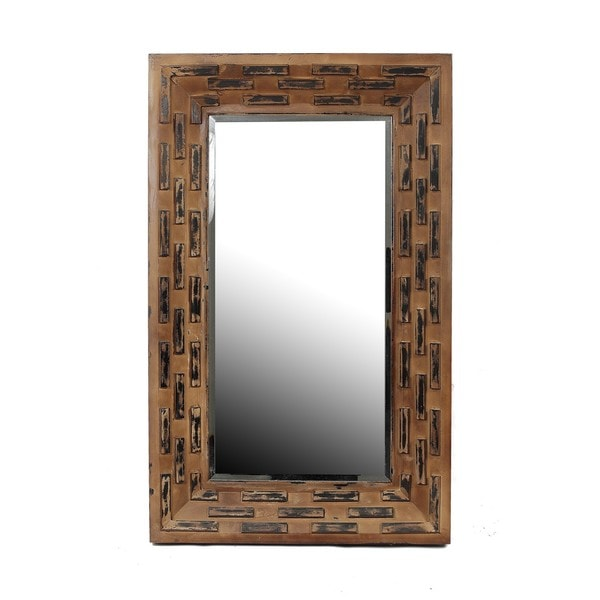 Privilege Brown Two Tone Reclaimed Wood Wall Mirror