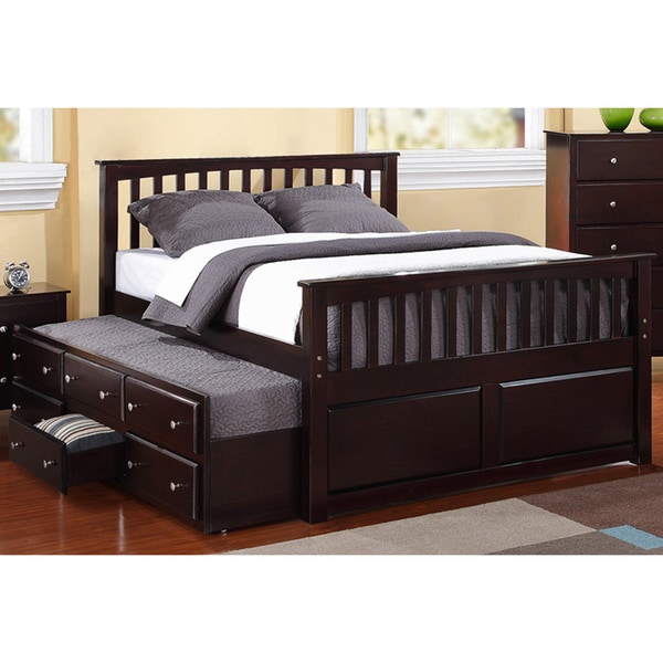 Full Size 3 Drawer Twin Trundle Captain Bed 15912943