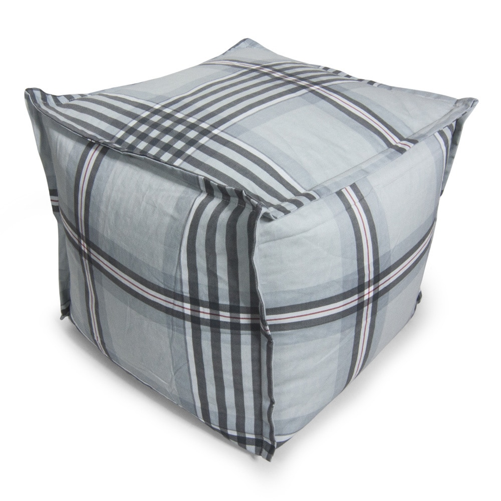 beansack grey gingham plaid cube bean bag ottoman overstock shopping big discounts on bean. Black Bedroom Furniture Sets. Home Design Ideas