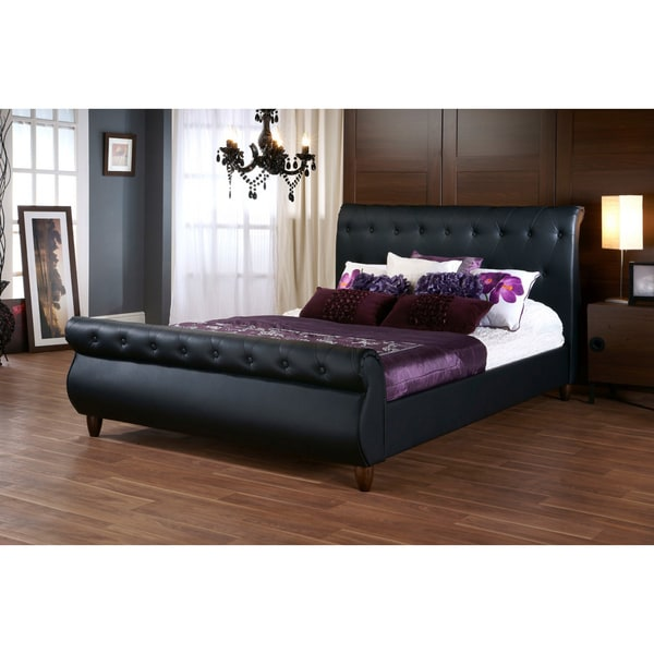 Baxton Studio Ashenhurst Black Modern Sleigh Bed With