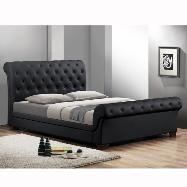 Leighlin Black Modern Sleigh Bed With Upholstered