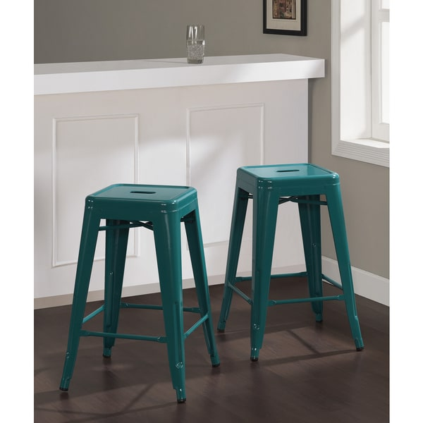 Tabouret 24 Inch Peacock Counter Stools Set Of 2