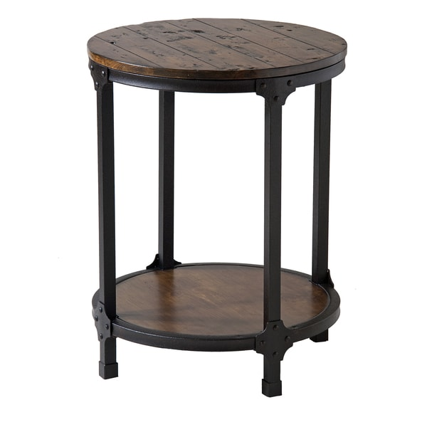 Kirstin Industrial Style Round End Table